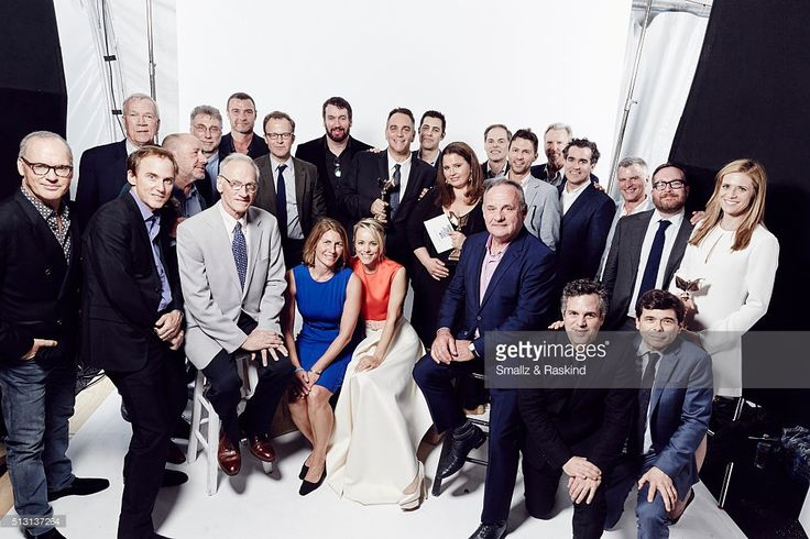 The Cast/Producers of 'Spotlight' Brian d'Arcy James, Newspaper Editor Martin Baron, Michael Cyril Creighton, Writer/Director Tom McCarthy, Rachel McAdams, Casting Director Paul Schnee, Abuse Survivor Phil Saviano, Reporter Sacha Pfeiffer, Neal Huff, Mark Ruffalo, and Reporter Walter V. Robinson, Michael Rezendes, Liev Schreiber, Jamy Sheridan, & Paul Guilfoyle pose for Portrait at 2016 Film Independent Spirit Awards after winning Best Feature for 'Spotlight' February 27, 2016 in Santa…