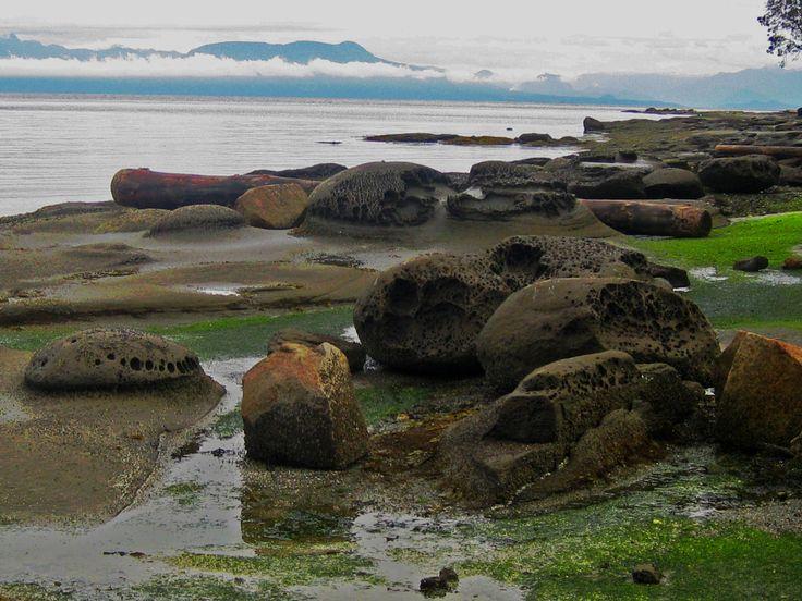 Sandstone formations along Gabriola's shoreline