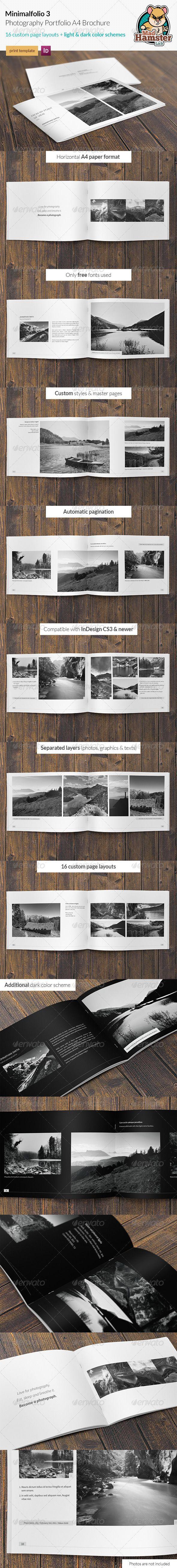 Minimalfolio 3 Photography Portfolio A4 Brochure - Portfolio Brochures
