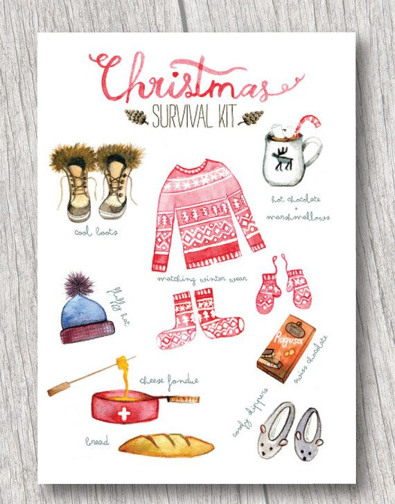 Christmas Survival Kit (set of 4) watercolor christmas card, funny Christmas card