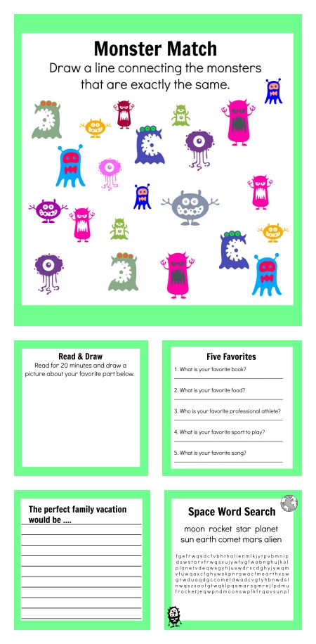 busy pages free activity sheets - Kids Fun Pages