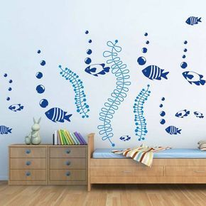 Under The Sea Wall Decals, Fish Wall Stickers, Removable Fish Sea Stickers for Kids Bedrooms, Nursery Fish Decals, Sea Stickers, g26, d52 by TrendyWallDesigns on Etsy https://www.etsy.com/ca/listing/197664053/under-the-sea-wall-decals-fish-wall