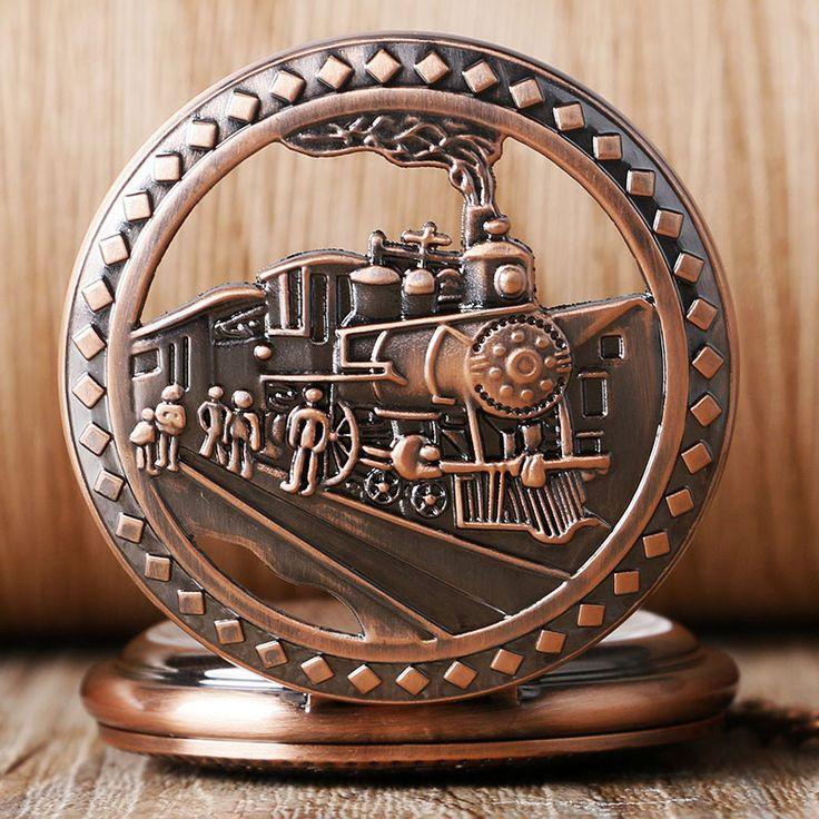 2016 2 Styles Locomotive Running Train Steam Retro Design Pocket Watch Mechanical Hand Wind Fob Watches Clock