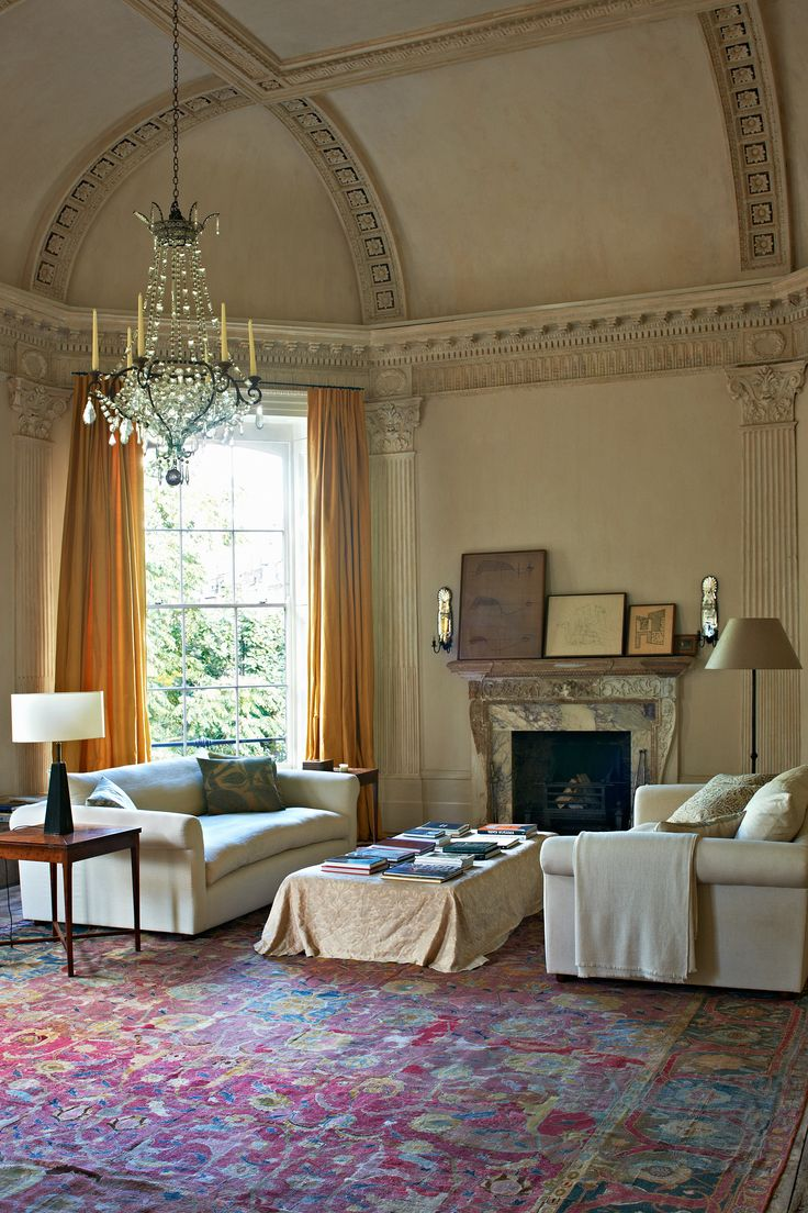 The Queen of Serene | Rose Uniacke's Pimlico Road London Home | White, ivory, mustard, dark pink.