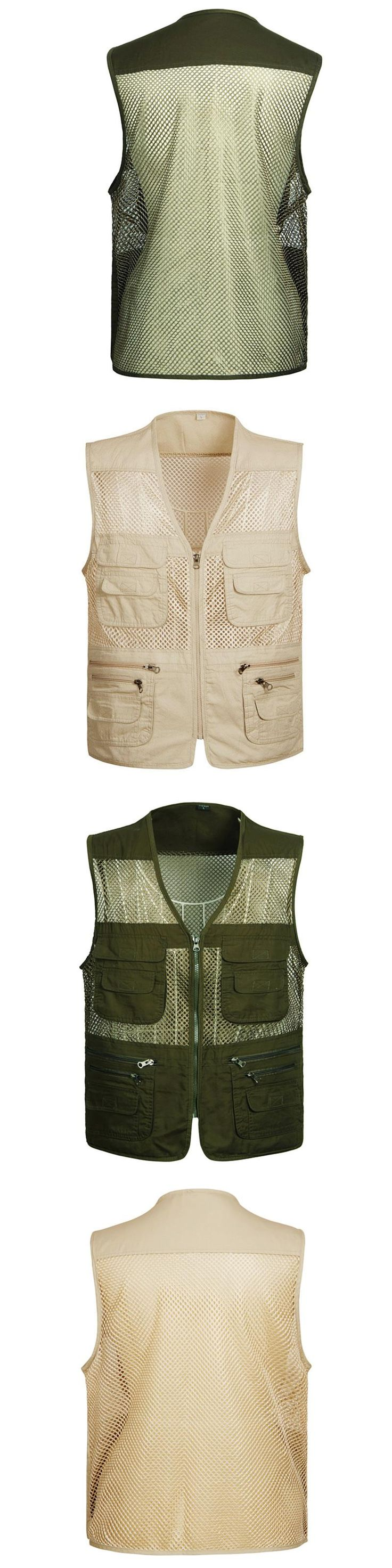 New Man Clothing Spring Autumn Mesh Vest Zipper Multi Pockets Photographer Vest Casual Men Khaki and military green Clothes