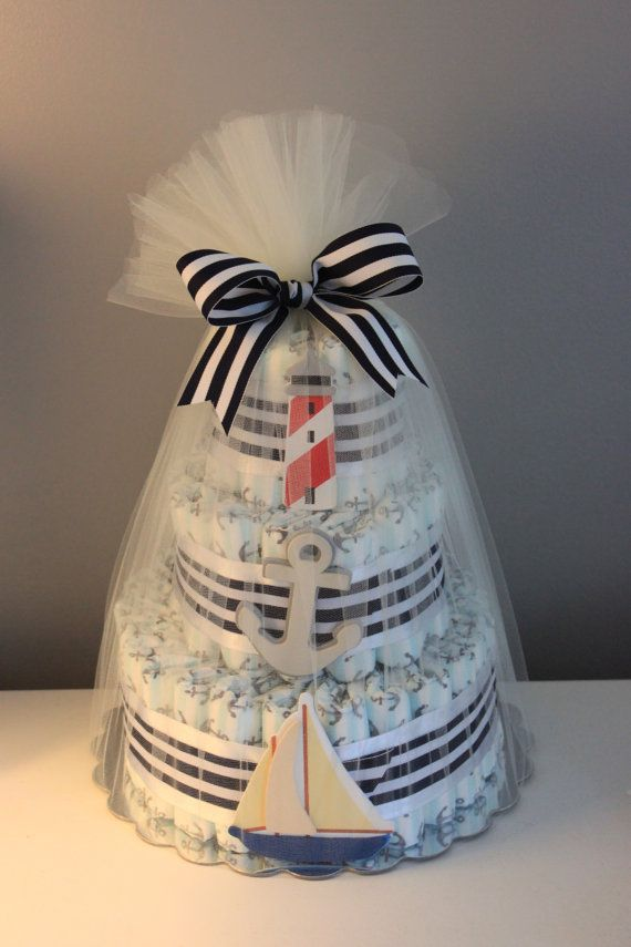 Love this! Trustworthy Co. anchor diaper cake, crusing themed