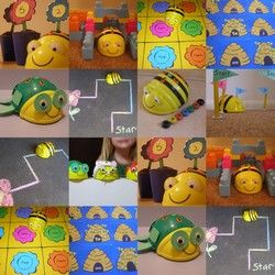 These little Bee-Bots are small programmable floor robots for kids. How cool is that!