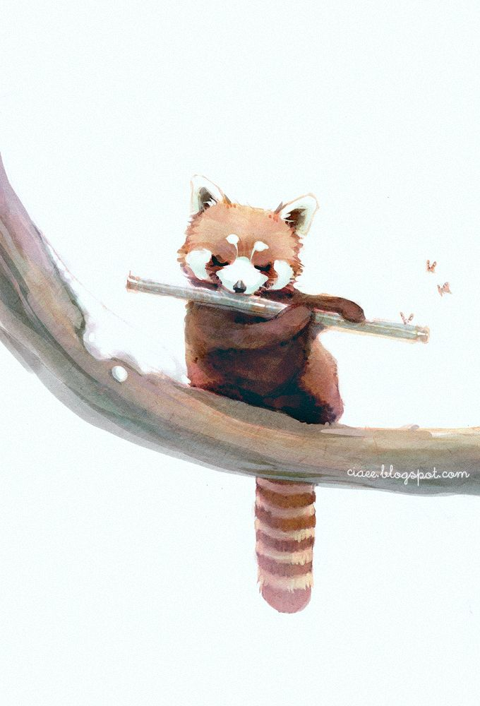 by ciaee © red panda playing flute~ cute watercolor painting!