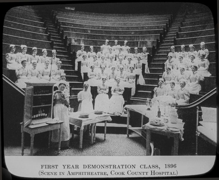 First year demonstration class, Illinois Training School for Nurses, Cook County Hospital, 1896, Chicago