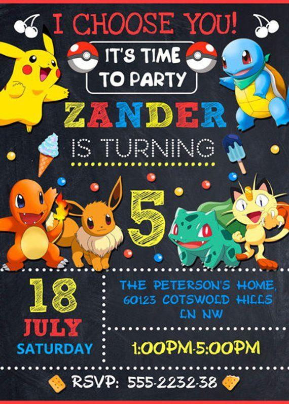 Pokemon Invitation Party Birthday Girl