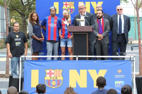 FC Barcelona and the NY Department of Education host a camp featuring Ronaldinho…