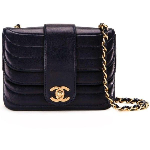 Chanel Vintage mini CC ruffled shoulder bag ($3,813) ❤ liked on Polyvore featuring bags, handbags, shoulder bags, blue, kiss-lock handbags, blue handbags, blue shoulder bag, navy handbags and shoulder handbags