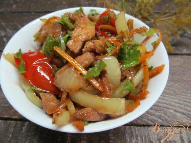 Теплый салат из баклажана с куриным филе - пошаговый рецепт с фото