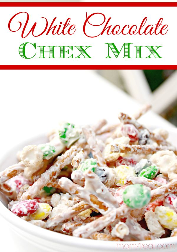 White Chocolate Christmas Chex Party Mix - Easy Recipe - Great Teacher / Neigbor Gift Idea