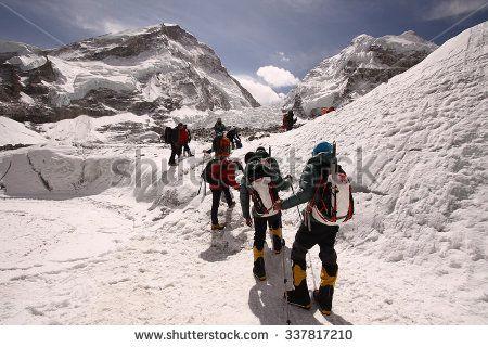 KHUMBU GLACIER, MOUNT EVEREST: Unidentified climbers trekking to khumbu glacier for training on 14 April 2014.