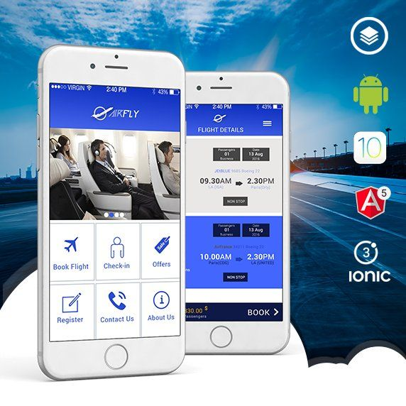 Airline reservation ionic 3 theme
