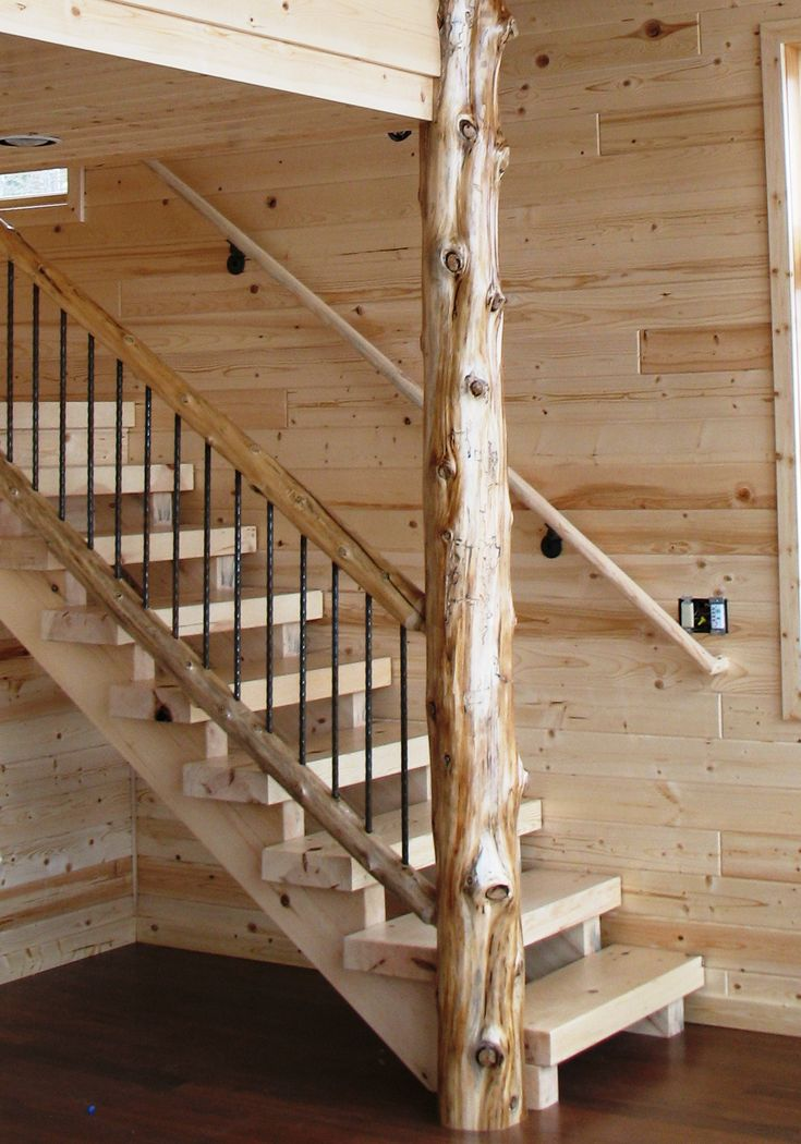 Timber style stair in a contemporary lake home with cedar natural log railing with wrought iron - Rustic log house plans decor ...