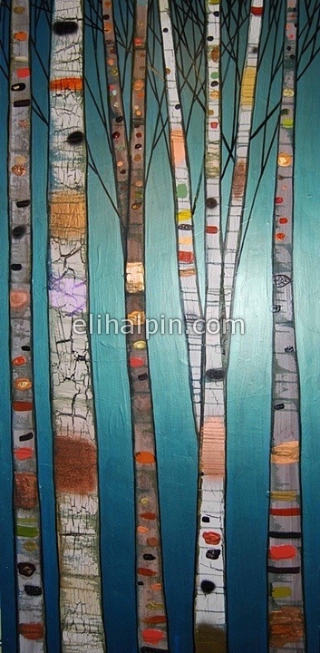 """Birch Trees in Metallic Emerald  2010  oil and mixed media on recycled wood  36"""" x 75"""""""