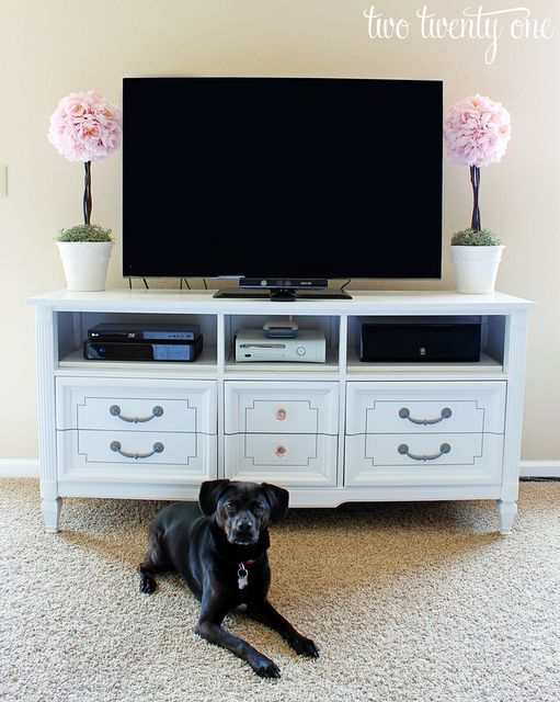 makeover dresser into tv stand