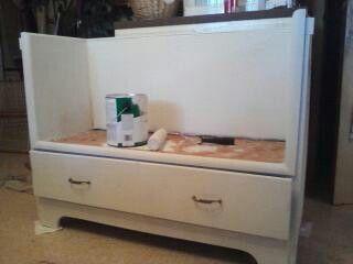 discarded (broken) dresser turned bench with storage
