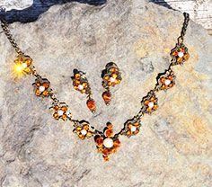 Bestel snel  voor koningsdag oranje ketting met swarovski kristallen met mooie oorbellen ieraden http://yazzys.com/shop
