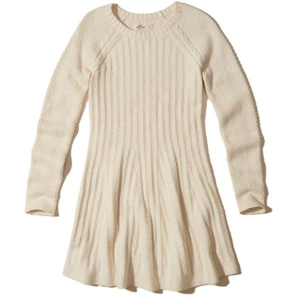 Hollister Skater Sweater Dress (3.215 RUB) ❤ liked on Polyvore featuring dresses, cream, cable knit sweater dress, crew neck dress, pink long sleeve dress, cable knit dress and pink dress