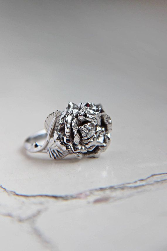 Rose Flower Ring Unique Diamond Ring White Gold Ring Engagement Ring Flower Engagement Ring Proposal Ring Roman Unique Diamond Rings Unique Rings Jewelry
