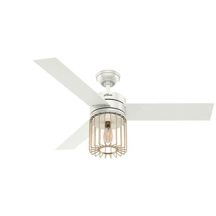Hunter Ronan Led Edison 52-in Fresh White and Modern Brass Downrod or Close Mount Indoor Ceiling Fan with Light Kit and Remote (3-Blade)