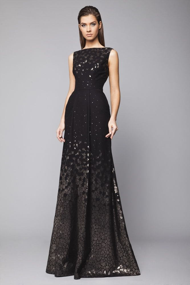 """""""Black A-line evening dress with metallic stamp pattern and bateau neckline. Fall Winter 2015/16 Tony Ward"""" (quote) via tonyward.net"""