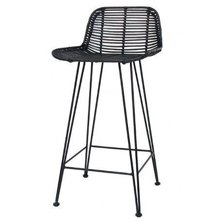 HK-living Barkruk naturel zwart rotan 47x42x89cm rotan bar stoel