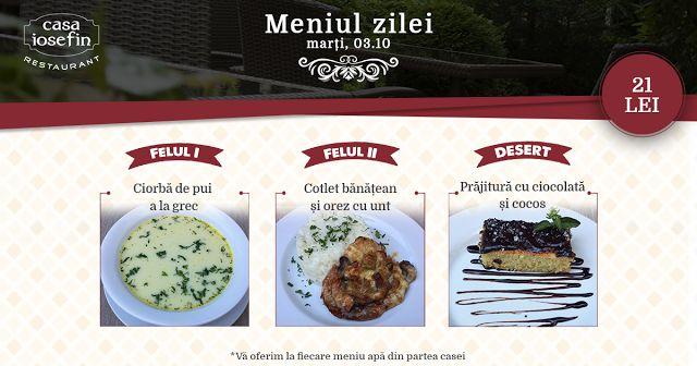 Restaurant Casa Iosefin Timisoara: Meniu Zilei 03.10