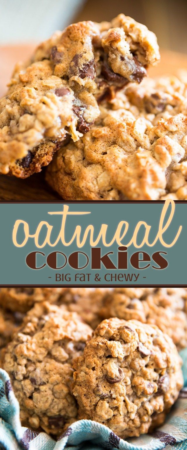 The name says it all: these oatmeal cookies, they're big, fat and chewy! Loaded with chocolate chips and chopped pecans, they're guaranteed to hit the spot!  | My Evil Twins Kitchen