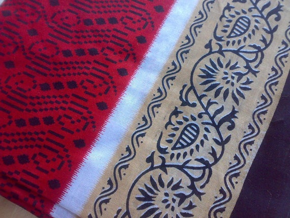 Indian Cotton Saree Red Black Tan Fabric Floral Ikat