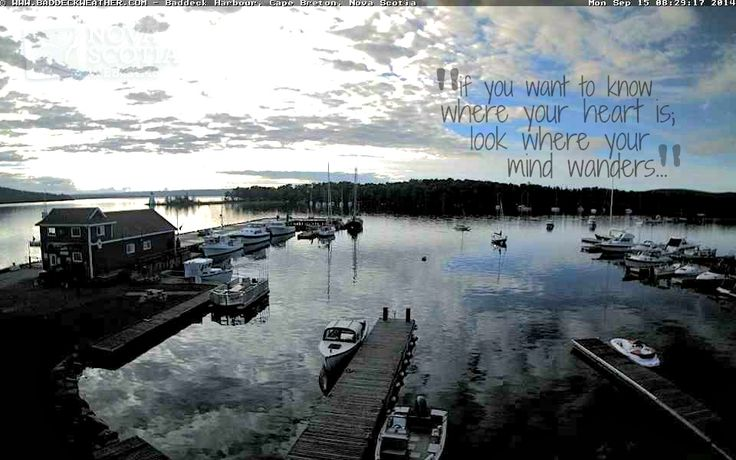"If you want to know where your heart is; look to where your mind wanders.""  http://www.novascotiawebcams.com/en/webcams/baddeck/  #Baddeck #CapeBreton #NovaScotia #NSWebcams #Quote"