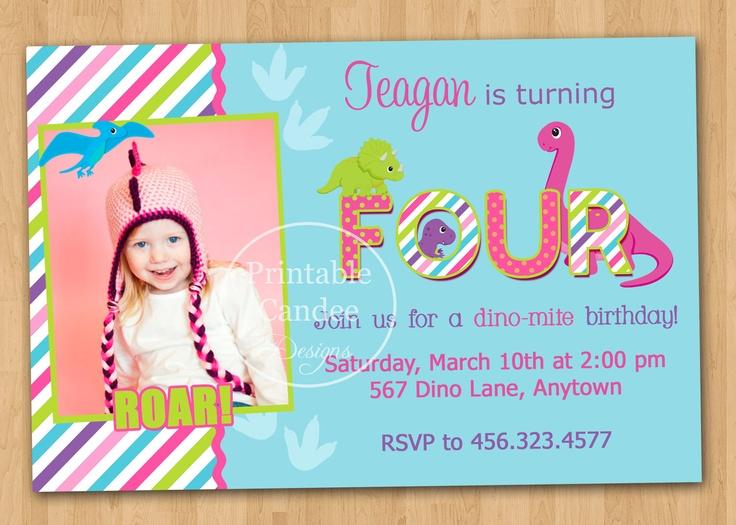 289 best girl dinosaur birthday party images on pinterest, Birthday invitations