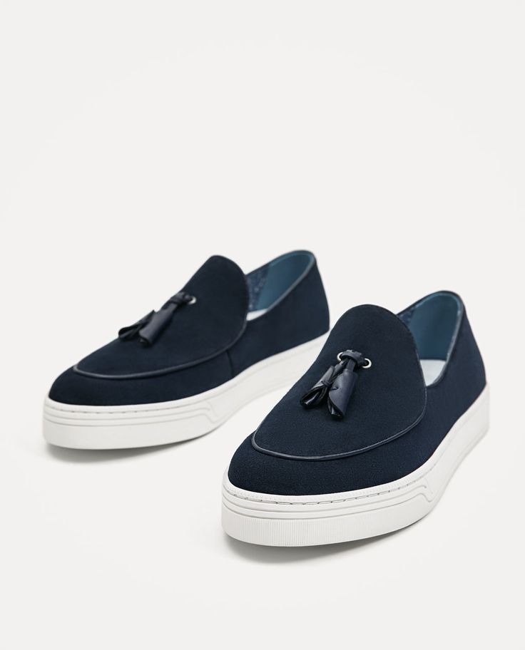 Image 1 of BLUE LEATHER SNEAKER-STYLE LOAFERS from Zara
