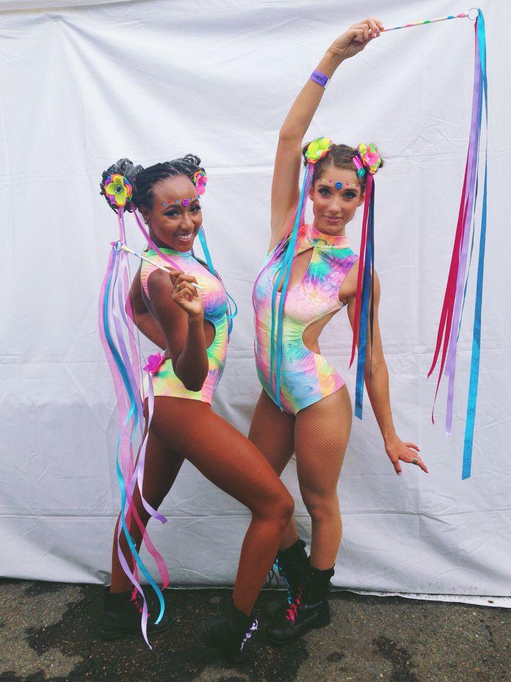 Alexandria & Elena rocking #littleblackdiamond zero suits made with bubble  velvet rainbow tie dye · Rave Girl OutfitsHair RibbonsRibbon ... - 441 Best EDC Outfits Images On Pinterest