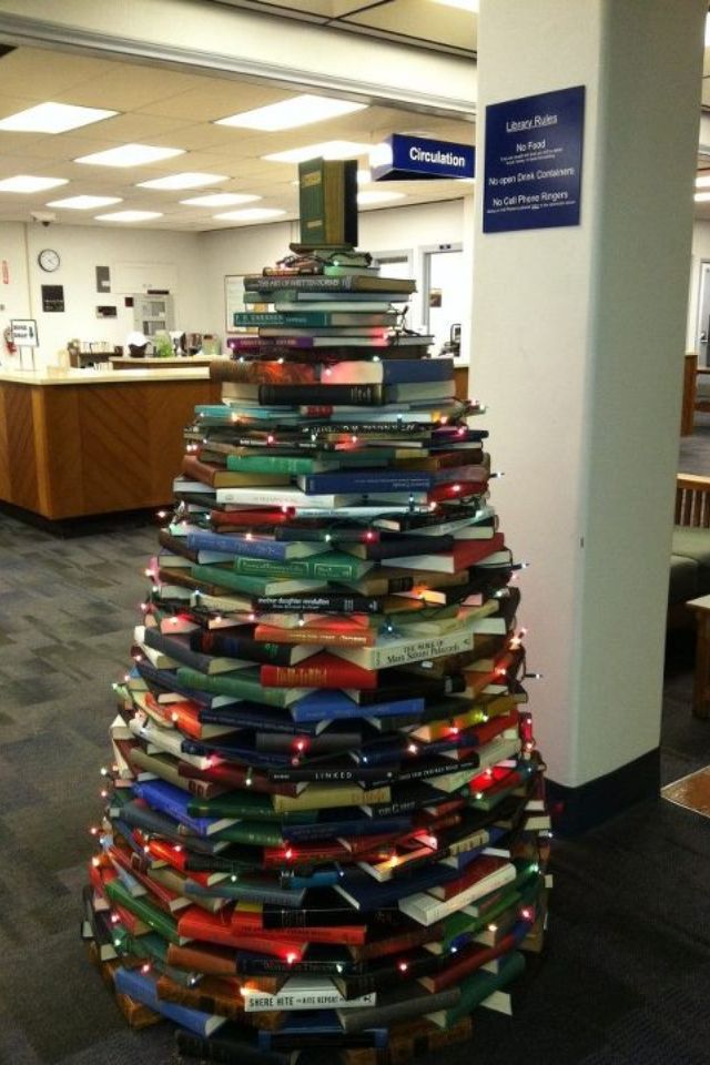 book christmas tree @Lynette Clark  you should do this at the school! :)