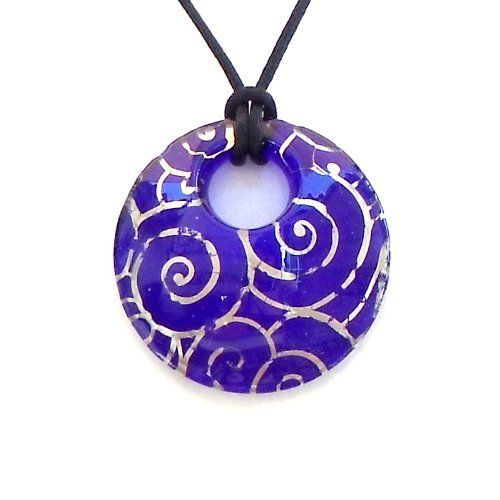 Murano Glass Round Pendant Dark Blue with Silver Foil Zyger Imports. $31.99. Authentic Italian Murano Glass Pendant Round Blue Silver