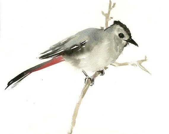 Gray Catbird, original watercolor painting, 9 X 12 in, bird lover art, birding, bird painting bird watching