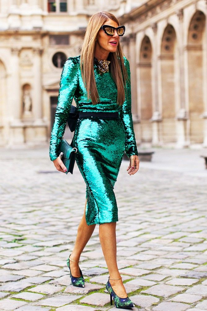 Anna Dello Russo // Monochrome look: Sequin dress with subdued accessories in the same hue.