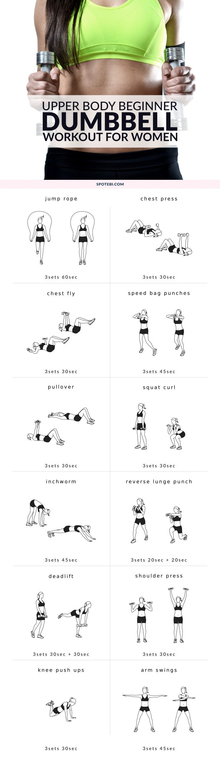 Strengthen your back and lift your chest with this upper body beginner workout for women. A set of 12 exercises to help you sculpt your body and improve your posture. http://www.spotebi.com/workout-routines/upper-body-beginner-workout-women/