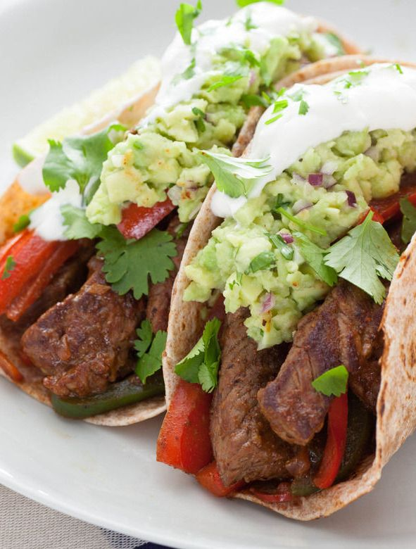 Top Round Steak Fajitas with Guacamole & Whole Wheat Wraps
