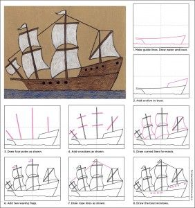 Step by step instructions on  how to draw a ship.I will use it with my grade 5s for Explorers unit.