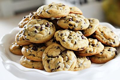 Chocolate Chip Cookies with Vanilla pudding - super moist - butter, brown sugar, white sugar, vanilla instant pudding mix, eggs, vanilla extract, flour, baking soda, salt, semi sweet chocolate chips
