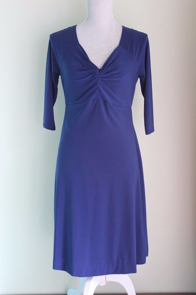 Size 12 ROMAN Dress Blue Knot Front  (181) #Roman #Casual