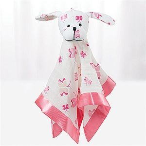 Aden + Anais Muslin Lovey Animal Blanket Pink Puppy