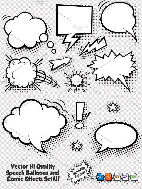 Comic Speech Bubbles Vector Set Bubble Drawing Cartoon Bubbles Hand Lettering Art