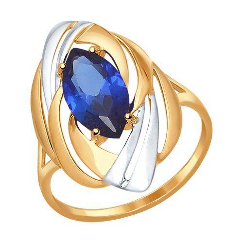 Кольцо из золота с корундом сапфировым (синт.)