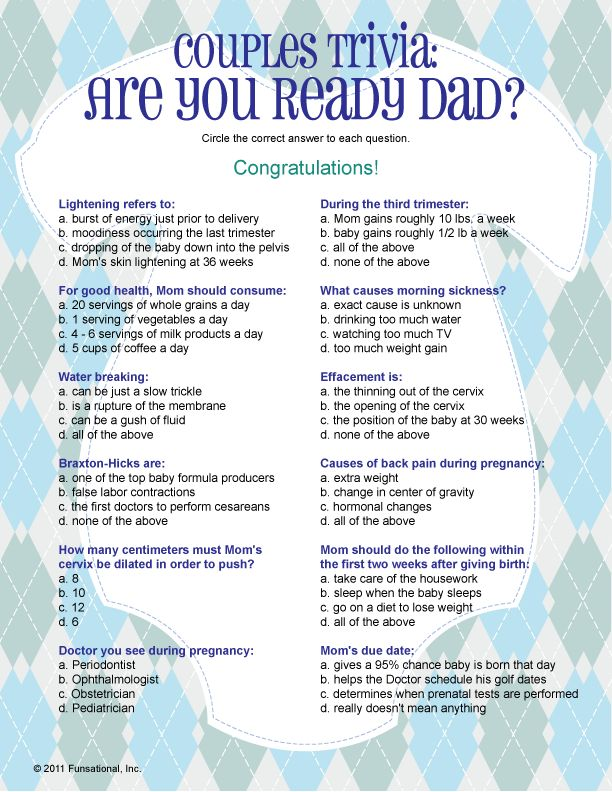 Printable Couples Trivia: Are You Ready Dad? Find This Pin And More On  Printable Baby Shower Games ...